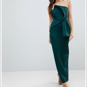 Green Bandeau Fold Bow Front Scuba Maxi Dress